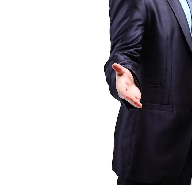 L'uomo d'affari. mano per una stretta di mano. la conclusione della transazione.