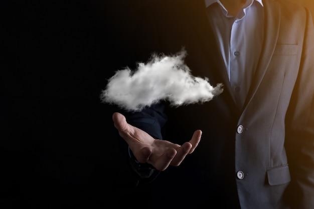 Imprenditore mano azienda cloud.