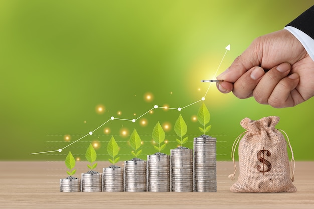 Impilabile mano dell'uomo d'affari moneta in crescita e coltivazione di piante con grafico grafico di crescita e borsa di denaro su tavola di legno