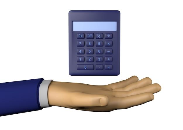 Mano dell'uomo d'affari con la calcolatrice. illustrazione 3d.