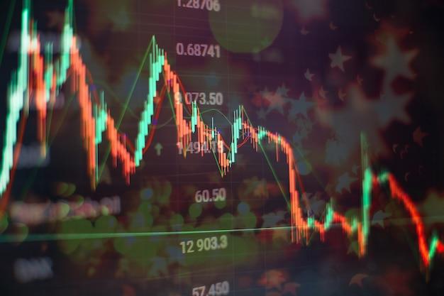 Mano dell'uomo d'affari che lavora sull'analisi dei grafici di investimento per il mercato dell'oro, il mercato forex e il mercato commerciale.