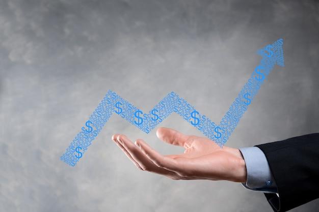 Imprenditore tenere premuto il disegno sullo schermo grafico in crescita, freccia dell'icona di crescita positiva. che punta al grafico di business creativo con le frecce verso l'alto.