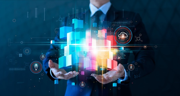 Uomo d'affari che tiene la rete della catena di blocchi e il cloud computing l'innovazione dei big data business globale