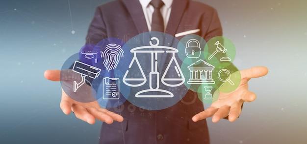 Bolla dell'icona di legge della giustizia e della nuvola della tenuta dell'uomo d'affari con la rappresentazione di dati 3d