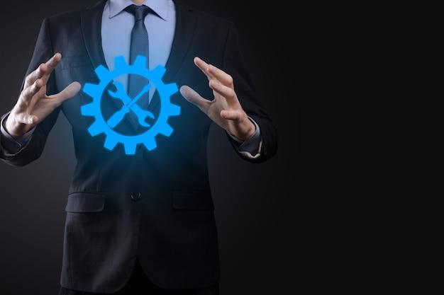 Uomo affari, presa a terra, ingranaggio, icona, con, tools., gear., concetto, di, obiettivo, fuoco, digitale, diagramma