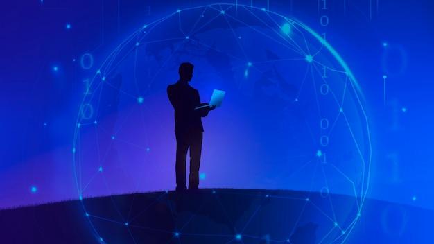 Uomo d'affari che tiene un laptop su uno sfondo blu