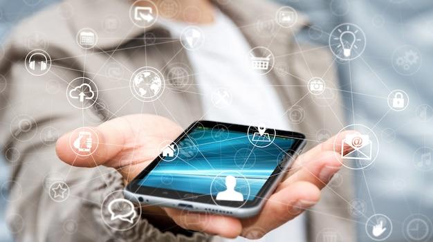 Rappresentazione della rete multimediale 3d della tenuta dell'uomo d'affari