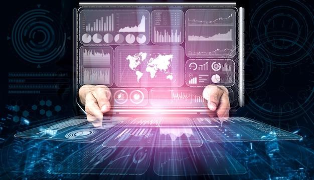 L'uomo d'affari tiene l'ologramma di analisi dei dati per affari e finanza
