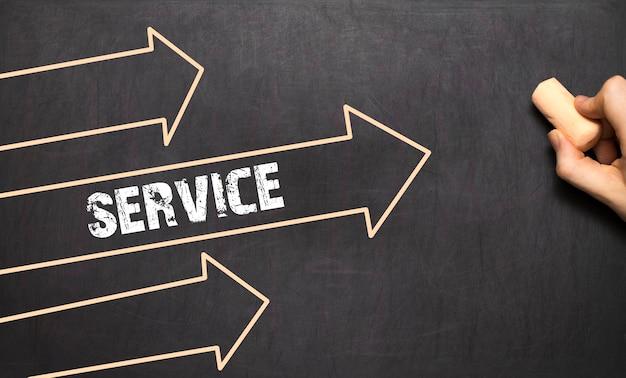 Un uomo d'affari sta disegnando il concetto di servizio con le frecce sulla lavagna