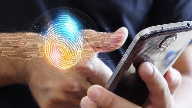 Accesso dell'uomo d'affari con tecnologia di scansione delle impronte digitali. impronta digitale per identificare personale, concetto di sistema di sicurezza