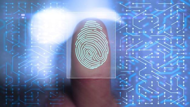 Accesso dell'uomo d'affari con la tecnologia di scansione delle impronte digitali