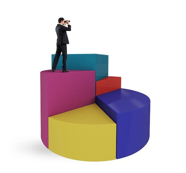 L'uomo d'affari guarda al futuro economico con il binocolo sopra un grafico