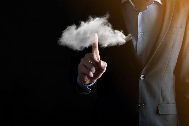 Uomo affari, man mano, presa a terra, cloud., cloud computing, concetto, primo piano, di, giovane, uomo affari, con, nuvola, sopra, suo, hand., concetto, di, cloud, service.