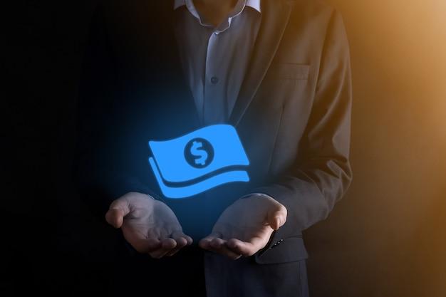 Uomo d'affari uomo che tiene icona moneta denaro nelle sue mani