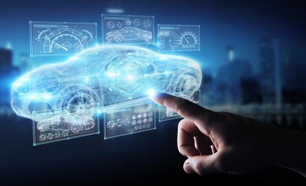 Uomo d'affari moderno interfaccia auto intelligente Foto Premium