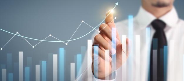 Crescita del grafico del piano dell'uomo d'affari e aumento degli indicatori positivi del grafico nella sua attività