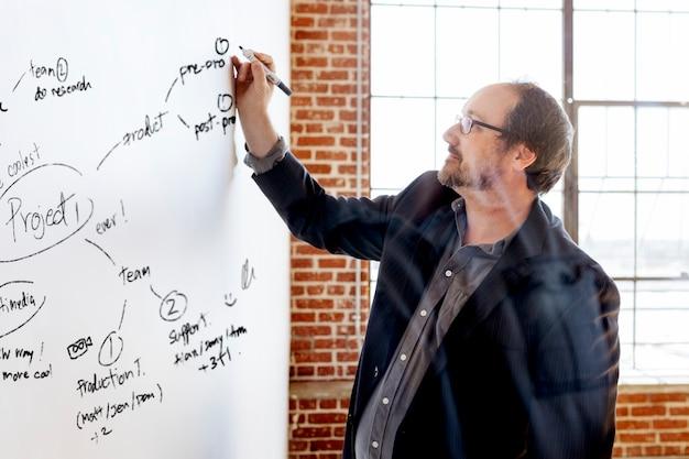 Uomo d'affari che pianifica un progetto su una lavagna bianca