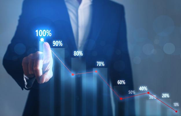 Uomo d'affari che indica il piano di crescita del grafico a freccia e aumenta la percentuale a 100.