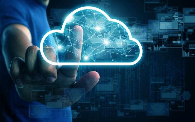 Sistema di cloud computing uomo d'affari