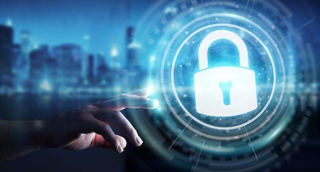 Uomo d'affari che protegge i suoi dati con l'interfaccia di sicurezza