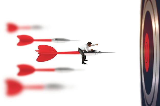L'uomo d'affari cavalca il dardo lanciato con grande velocità. concetto di concorrenza tra le imprese