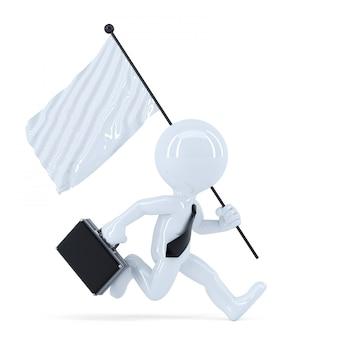 Uomo d'affari in esecuzione con bandiera. isolato. contiene il tracciato di ritaglio