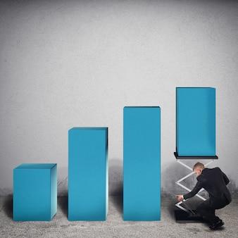 L'uomo d'affari manomette un passo della statistica sollevandolo con una molla per aumentare i profitti. rendering 3d