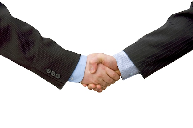 Partner di lavoro di squadra dell'uomo d'affari che agitano le mani