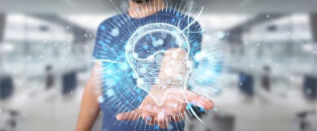 Uomo d'affari facendo uso della rappresentazione digitale dell'ologramma 3d dell'icona di intelligenza artificiale