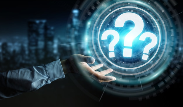 Uomo d'affari utilizzando l'interfaccia digitale punti interrogativi