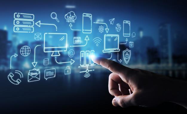 Uomo d'affari che usando i dispositivi di tecnologia e l'interfaccia della linea sottile delle icone