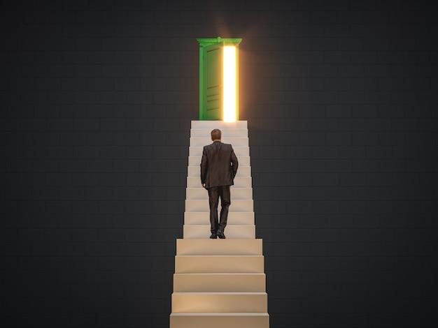 Uomo d'affari che sale sulle scale verso la porta dell'opportunità per lo sviluppo della carriera