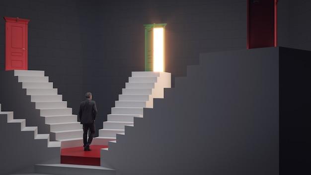 Uomo d'affari che sale sulle scale fino alla porta del successo di opportunità e del concetto di realizzazione