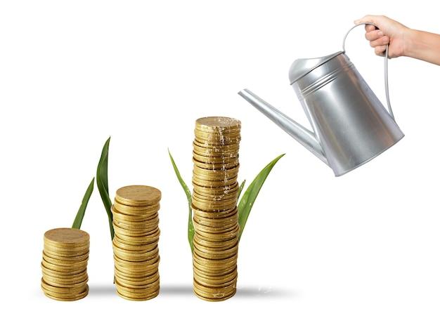 Uomo d'affari che innaffia le monete dei soldi come se fossero piante
