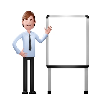 Uomo d'affari su una lavagna bianca. illustrazione 3d