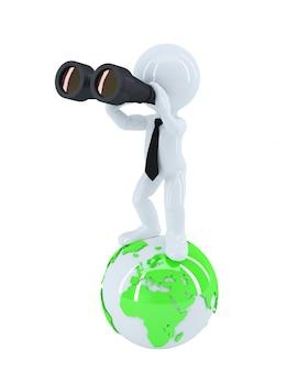 Uomo d'affari con il binocolo che sta in cima al globo