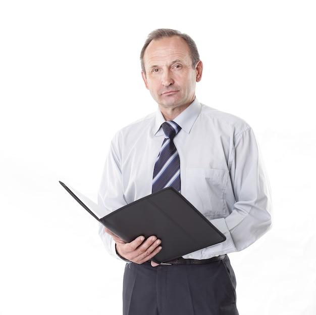 Uomo d'affari con una lavagna per appunti
