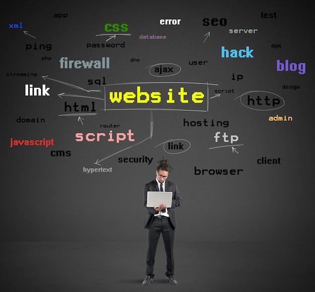 Uomo d'affari con laptop con grafica del sito web