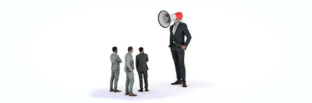 Uomo d'affari con un megafono invece della sua testa rendering 3d