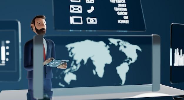 Personaggi di uomini d'affari che lavorano con computer tablet pc trasparente e proiezione di schermi virtuali. concetto di marketing aziendale di tecnologia futura. rendering 3d.