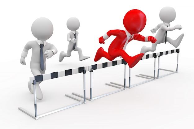 Uomini d'affari in una corsa ad ostacoli con il leader alla testa