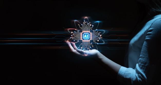 Mano della donna d'affari che tiene i dati della tecnologia di intelligenza artificiale digitale del cervello