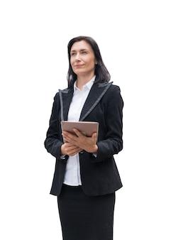 Compressa della tenuta della donna di affari con la condizione fiduciosa
