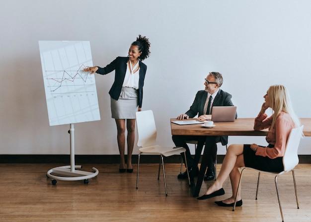 Imprenditrice che presenta relazione in una riunione