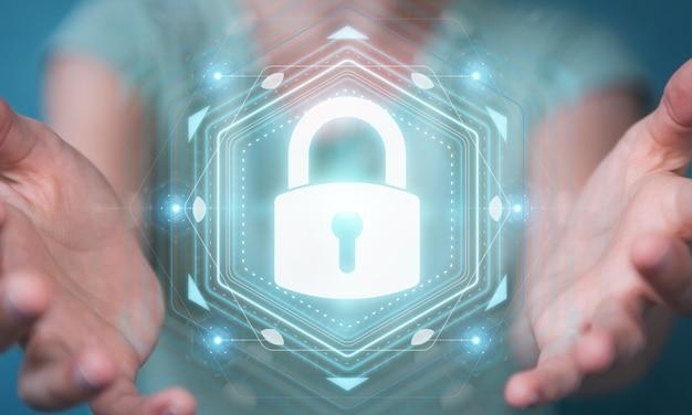 Donna di affari che protegge i suoi dati con l'interfaccia di sicurezza