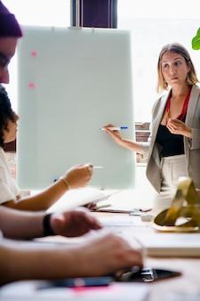 Donna d'affari che scrive su una lavagna nella sala riunioni