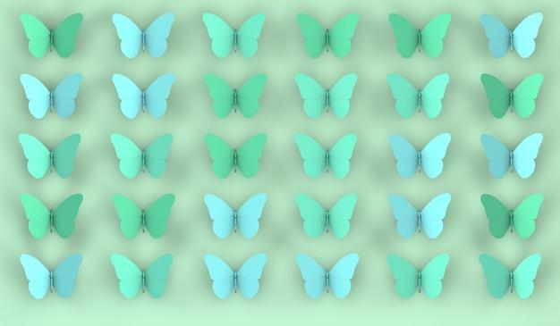 Fondo astratto delle farfalle nell'illustrazione 3d dei toni verdi