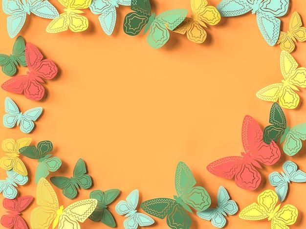 Fondo piatto del ritaglio di carta della farfalla. illustrazione 3d