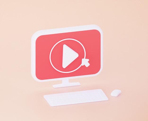 Il pulsante per visualizzare i video sul computer. rendering 3d.