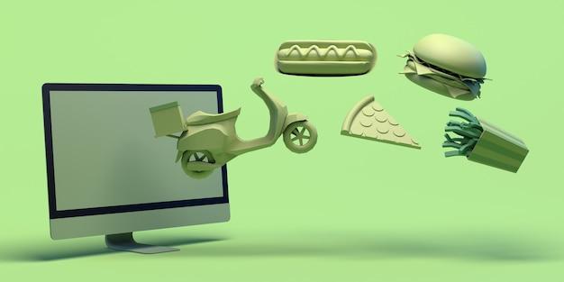 Acquista cibo online con il computer take away consegna hot dog pizza hamburger patatine cibo spazzatura copia spazio
